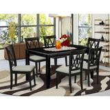 Winston Porter Maellys 7 Piece Solid Wood Dining Set Wood/Upholstered Chairs in Black, Size 30.0 H x 36.0 W x 60.0 D in | Wayfair
