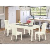 Winston Porter Lloshi 5 - Piece Butterfly Leaf Rubberwood Solid Wood Dining Set Wood/Upholstered Chairs in White, Size 30.0 H in   Wayfair