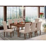 One Allium Way® Dane 9 Piece Extendable Solid Wood Dining Set Wood/Upholstered Chairs in Brown, Size 30.0 H in | Wayfair