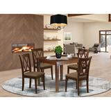 Winston Porter Chantelle 5 - Piece Rubberwood Solid Wood Dining Set Wood/Upholstered Chairs in Brown, Size 30.0 H in | Wayfair
