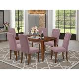 Ophelia & Co. Gilligan 6 - Person Counter Height Solid Wood Dining Set Wood/Upholstered Chairs in Brown, Size 29.0 H in   Wayfair