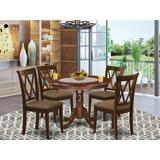 Winston Porter Schiraga 4 - Person Rubberwood Solid Wood Dining Set Wood/Upholstered Chairs in Brown, Size 30.0 H x 42.0 W x 42.0 D in   Wayfair