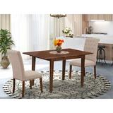 Rosalind Wheeler Jacinta 3 Piece Extendable Solid Wood Dining Set Wood/Upholstered Chairs in Brown, Size 30.0 H in | Wayfair