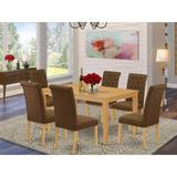Winston Porter Niki 7 Piece Solid Wood Dining Set Wood/Upholstered Chairs in Brown, Size 30.0 H x 36.0 W x 60.0 D in | Wayfair