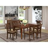 Winston Porter Latish 7 Piece Solid Wood Dining Set Wood/Upholstered Chairs in Brown, Size 30.0 H x 36.0 W x 60.0 D in | Wayfair