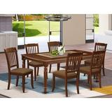 Winston Porter Ambra 7 Piece Extendable Solid Wood Dining Set Wood/Upholstered Chairs in Brown, Size 30.0 H in | Wayfair