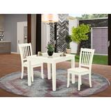 Winston Porter Keren 3 Piece Solid Wood Dining Set Wood/Upholstered Chairs in White, Size 30.0 H in   Wayfair 456FB1DFB37A499C99CC3B1B2AB43DBA