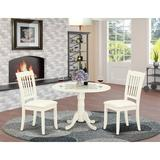 Winston Porter Lewisburg 3 Piece Drop Leaf Solid Wood Dining Set Wood/Upholstered Chairs in White, Size 29.5 H in | Wayfair