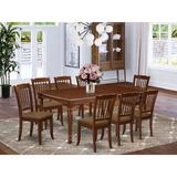 Winston Porter Moonseed 9 Piece Extendable Solid Wood Dining Set Wood/Upholstered Chairs in Brown, Size 30.0 H in | Wayfair