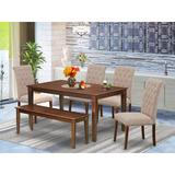 Winston Porter Gunson 6 Piece Solid Wood Dining Set Wood/Upholstered Chairs in Brown, Size 30.0 H x 36.0 W x 60.0 D in | Wayfair