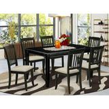 Winston Porter Asiata 7 Piece Solid Wood Dining Set Wood/Upholstered Chairs in Black, Size 30.0 H x 36.0 W x 60.0 D in | Wayfair