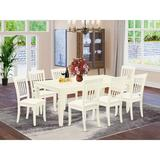Winston Porter Karmane 9 Piece Extendable Solid Wood Dining Set Wood/Upholstered Chairs in White, Size 30.0 H in | Wayfair