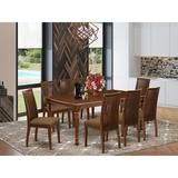Winston Porter Nommern 9 Piece Extendable Solid Wood Dining Set Wood/Upholstered Chairs in Brown, Size 30.0 H in | Wayfair