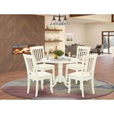 Winston Porter Osuna 5 - Piece Drop Leaf Solid Wood Dining Set Wood/Upholstered Chairs in White, Size 29.5 H in | Wayfair