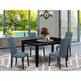 Winston Porter Earlybird 5 Piece Solid Wood Dining Set Wood/Upholstered Chairs in Black, Size 30.0 H x 36.0 W x 60.0 D in   Wayfair