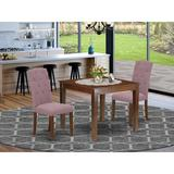 Winston Porter Potton 3 Piece Solid Wood Dining Set Wood/Upholstered Chairs in Brown, Size 30.0 H in   Wayfair E2E12EEF8EE749539423DA9B8B3F9928