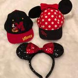 Disney Other | Adorable Mickey Minnie Mouse Kids Hats | Color: Red/White | Size: Osg