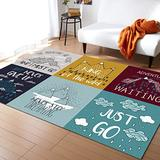 Quotes Large Area Rugs 5' x 7', Throw Carpet Floor Cover Nursery Rugs For Kids, Inspirational and Motivational Life Phrase Adventure Theme Illustration Modern Kitchen Mat Rugs For Living Room/Bedroom