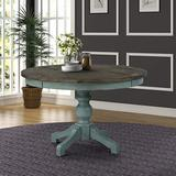 Roundhill Furniture Prato Round Two-Tone Finish Wood Dining Table, Blue and Brown
