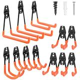 Garage Hooks, 12 Pack Heavy Duty Garage Storage Hooks Steel Tool Hangers for Garage Wall Mount Utility Hooks and Hangers with Anti-Slip Coating for Garden Tools, Ladders, Bikes, Bulky Items