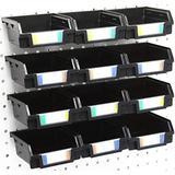 12 Pack Black Pegboard Bins - Pegboard Hardware Parts Storage Craft Organizer Sample Room Organzier PegBoard Workbench Bins Accessories