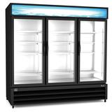 "Kelvinator Commercial KCHGM72F 81"" Three Section Display Freezer w/ Swing Doors - Bottom Mount Compressor, Black, 220v/1ph"