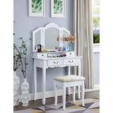 Vanity Makeup Set Bedroom Vanity Table Dressing Table with 7 Drawers, 2 Brush Slots, Open Compartments and Tri-Fold Necklace Hooked Mirror, Cushioned Stool for Women Toddler Girls, White