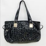 Michael Kors Bags | Michael Kors Black Woven Leather Newbury Bag | Color: Black/Gold | Size: Os