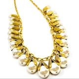 Anthropologie Jewelry | Lenora Dame Long Gold Tone, Faux Pearls Nklce | Color: Gold/White | Size: Approx 36