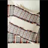 Anthropologie Bedding | Anthropologie Ivory Red Blue Woven Fringed Sham | Color: Blue/Red | Size: 26 Square Euro Sham