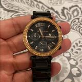 Michael Kors Jewelry | Gunmetalrose Gold Diamond Mk Womens Watch | Color: Black | Size: Os
