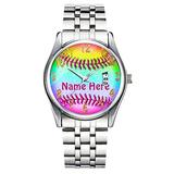 Unique Watch, Watch Silver Stainless Steel Band Watch for Men Ladies Cute Watches for Couples Kids Boys & Girls Personalized Classic Fashion Watch 325.Personalized Softball Watches for Girls and Women