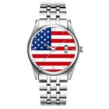 Unique Watch, Watch Silver Stainless Steel Band Watch for Men Ladies Cute Watches for Couples Kids Boys & Girls Personalized Classic Fashion Watch 018.American Flag Women's White Watch