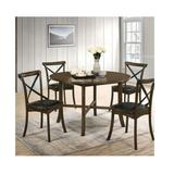 Gracie Oaks Torrence Placer 5 Piece Round Dining SetWood/Metal/Upholstered Chairs in Brown, Size 29.63 H x 47.25 W x 47.25 D in | Wayfair