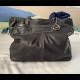 Coach Bags   Coach Black Leather Handbag   Color: Black/Silver   Size: 12 Tall, 15 Across, 11 Handle Drop