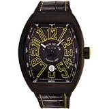 Franck Muller Vanguard Mens Stainless Steel Automatic Watch - Tonneau Black Face with Luminous Hands, Date and Sapphire Crystal - Black Leather/Rubber Strap Swiss Made Watch V 45 SC BLK BLK YEL
