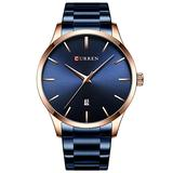 Watch Men Fashion Style Curren Classic Quartz Watches Stainless Steel Band Male Clock Business Men's Wristwatches Dress Watch (Rose Gold Blue)