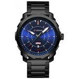 Men's Luxury Stainless Steel Cool Design Quartz Watches Business Analog Wristwatch for Man Calendar Fashion Silver Watch