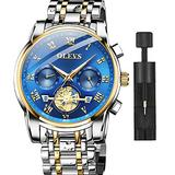 OLEVS Watch Men Luxury Dress 2 Tone Stainless Steel Watch Blue Face Chronograph for Men Big Watches Quartz Analog Men's Wrist Watches with Date Fashion Classic Casual Roman Roman Numerals Wristwatch