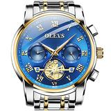 OLEVS Men Watches,Fashion Analog Quartz Mens Watches,Stainless Steel Sport Waterproof Wristwatch for Men,Business Classic Mens Watches,Luxury Gold Men Watch with Blue Face,Chronograph Men Watch.