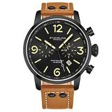 Stuhrling Original Mens Tan Leather Dress Watch - Aviation Watch with Date and Leather Strap Pilot Watch Duel Time and 24 Hour Subdial Tachymeter Watches for Men Collection