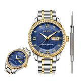 OLEVS Blue Watches for Men Waterproof Diamond Inexpensive Luxury Watches for Men Date Analog Quartz Watch Stainless Steel Mens Classic Wrist Watch for Men