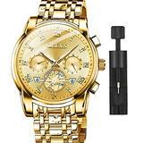 OLEVS Gold Watches for Men with Date Luxury Dress Men's Wrist Watches 14K Gold Plated Stainless Steel Waterproof Quartz Analog Watch Big Face Classic Roman Numerals Wristwatch Men,Relojes De Hombre