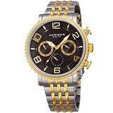 Akribos XXIV Men's Multifunction Watch - 3 Subdials Include Day, Date and GMT on Large Easy-to-Read Hands and Hour Markers on Stainless Steel Bracelet - AK917 (Two-Tone)