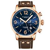 Stuhrling Original Mens Brown Leather Dress Watch - Aviator Watch with Date and Leather Strap Pilot Watch Duel Time and 24 Hour Subdial Tachymeter Watches for Men Collection