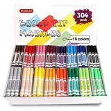 Shuttle Art 304 Pack Washable Markers Bulk, 16 Assorted Colors Broad Line Classroom Pack Markers, Classroom School Supplies for Teachers Kids