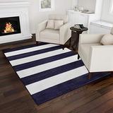 Bedford Home Breton Stripe Area Rug-5x7 Blue & Ivory Plush Carpet, Navy Blue and Ivory