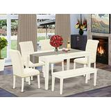East-West Furniture Modern Dining Table Set 6 Pc - Light Beige Linen Fabric Button-tufted Parsons Dining Chairs - Linen White Finish Solid Wood Rectangular 4 legs Small Table and Bench