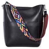 BROMEN Women Handbag Designer Vegan Leather Hobo Handbags Shoulder Bucket Crossbody Purse Black