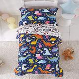 Joyreap 4 Piece Toddler Bedding Set, Standard Size Colorful Dinosaur Printed on Navy, Includes Quilted Comforter, Fitted Sheet, Top Sheet, and Pillow Case for Boys n Girls